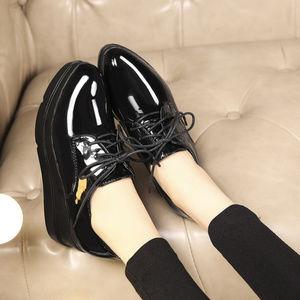 Zara black faux leather Platform Bluchers Lace Up